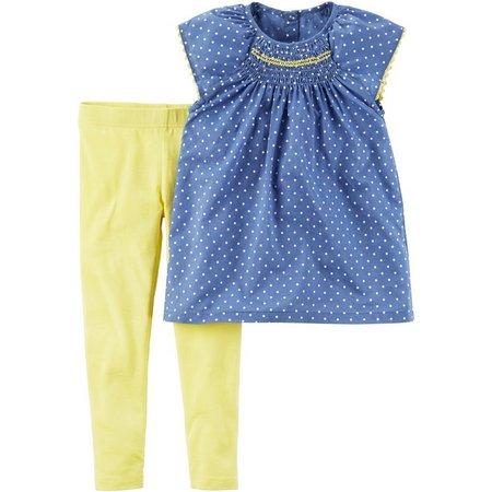 Carters Baby Girls Dot Smocked Top Leggings Set