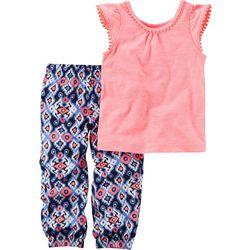 Carters Baby Girls Aztec Print Pants Set
