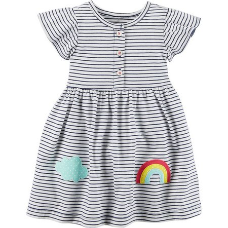 Carters Baby Girls Stripe Rainbow Dress