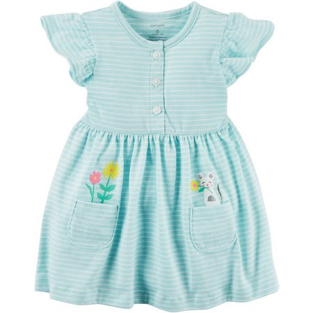 Carters Baby Girls Stripe Mouse Dress