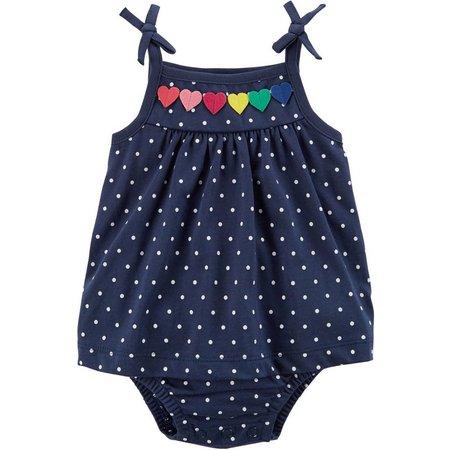 Carters Baby Girls Polka Dot Heart Sunsuit