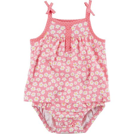 Carters Baby Girls Floral Button Sunsuit