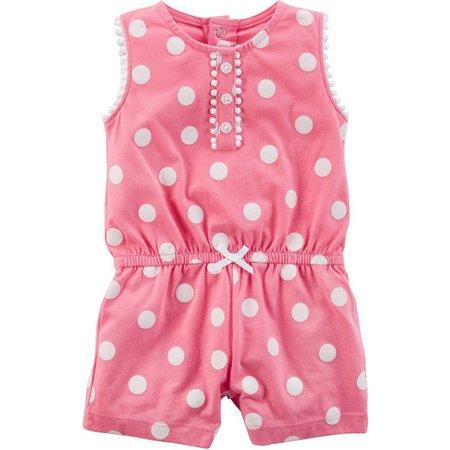 Carters Baby Girls Polka Dot Pom Pom Romper