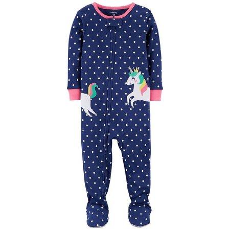 Carters Baby Girls Polka Dot Unicorn Sleep &