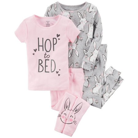 Carters Baby Girls 4-pc. Hop To Bed Pajama