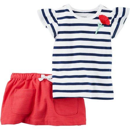 Carters Baby Girls Stripe Skirt Set