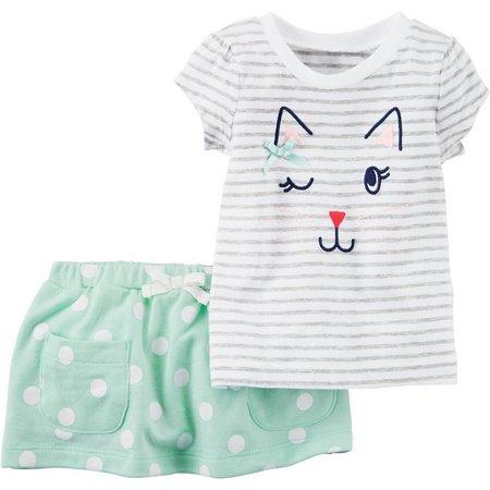 Carters Baby Girls Kitty Skirt Set