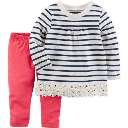 Carters Baby Girls Stripe Lace Hem Tunic Pants