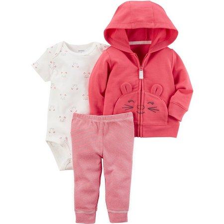 Carters Baby Girls 3-pc. Cat Jacket Layette Set