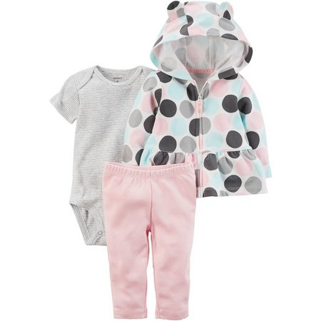 Carters Baby Girls 3-pc. Polka Dot Jacket Layette
