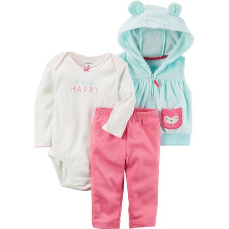 Carters Baby Girls 3-pc. Happy Owl Vest Layette