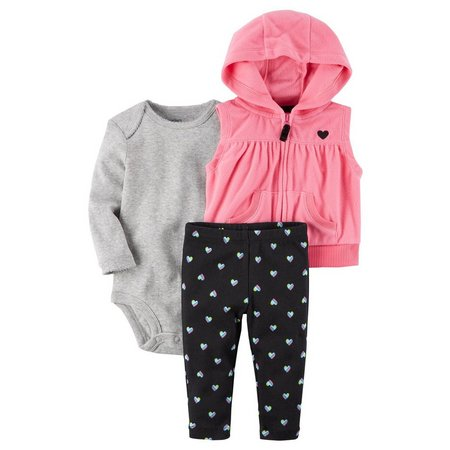 Carters Baby Girls 3-pc. Heart Vest Layette Set
