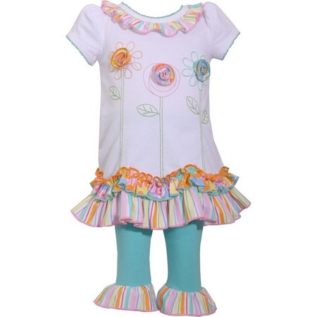 Bonnie Jean Baby Girls Floral Ruffle Leggings Set