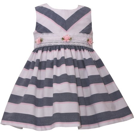 Bonnie Jean Baby Girls Chambray Stripe Dress