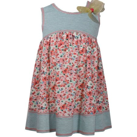 Bonnie Jean Baby Girls Floral Stripe Dress