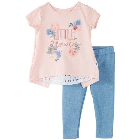 Cherokee Baby Girls Little Flower Pants Set