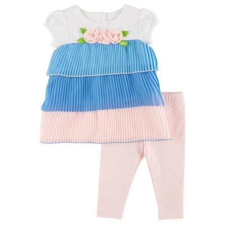 Lavender Baby Girls Tiered Capri Leggings Set