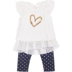 Little Lass Baby Girls Floral Heart Leggings Set