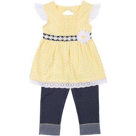 Little Lass Baby Girls Daisy Pants Set