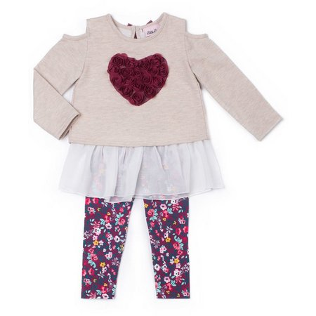 Little Lass Baby Girls Flower Heart Leggings Set
