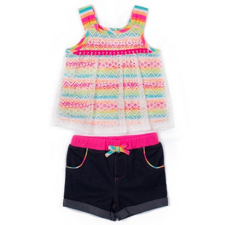 Little Lass Baby Girls Chevron Lace Shorts Set