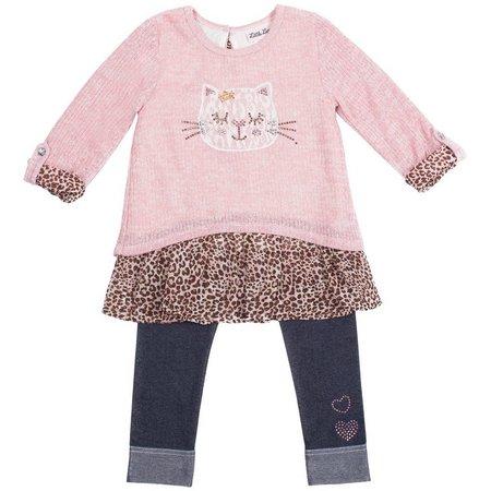 Little Lass Baby Girls Cat Tunic Jeggings Set