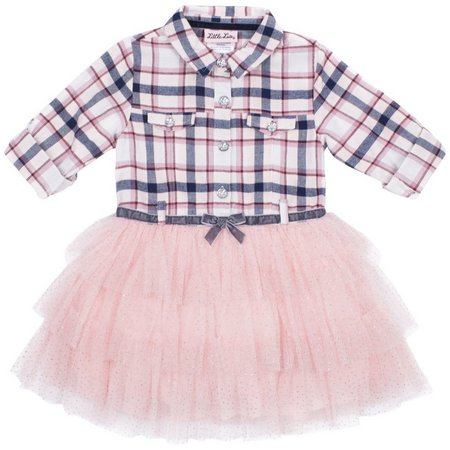 Little Lass Baby Girls Plaid Belted Tutu Dress