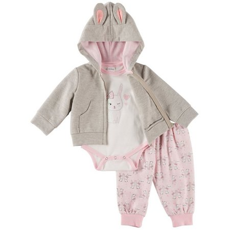 Quiltex Baby Girls 3-pc. Bunny Hoodie Layette Set