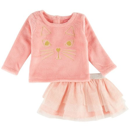 Kidtopia Baby Girls Kitty Tutu Skirt Set