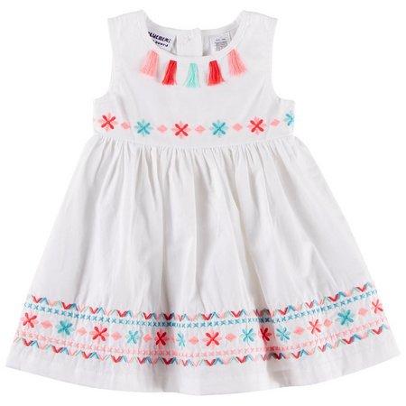 Blueberi Boulevard Baby Girls Embroidered Dress