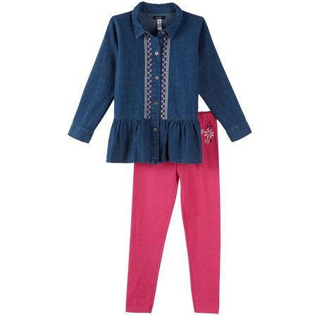 Kensie Baby Girls Denim Tunic Leggings Set