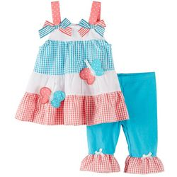 New! Nannette Baby Girls Gingham Butterfly Pants Set