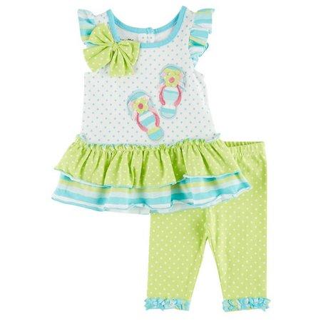 Nannette Baby Girls Flip Flops Pants Set