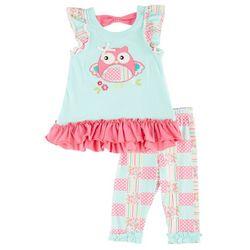 Nannette Baby Girls Mixed Owl Pants Set