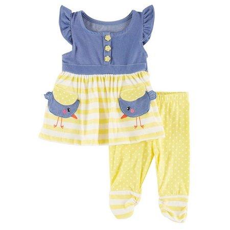 Nannette Baby Girls Polka Dot Birdy Leggings Set