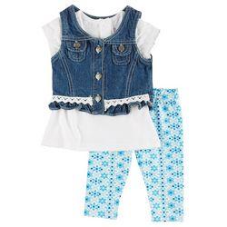 Nannette Baby Girls 3-pc. Denim Leggings Set