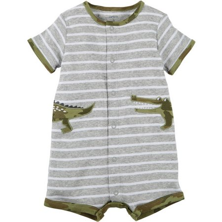 Carters Baby Boys Gator Stripe Snap-Up Romper