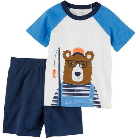 Carters Baby Boys Fishing Bear Shorts Set