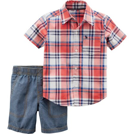 Carters Baby Boys Plaid Print Shorts Set