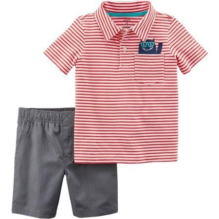 Carters Baby Boys Pocket Monster Polo Shorts Set