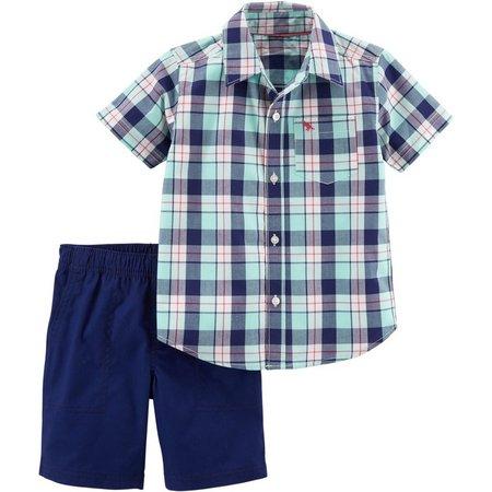 daf882930 Carters Baby Boys Plaid Print Pocket Shorts Set   Bealls Florida