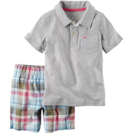 Carters Baby Boys Whale Plaid Shorts Set