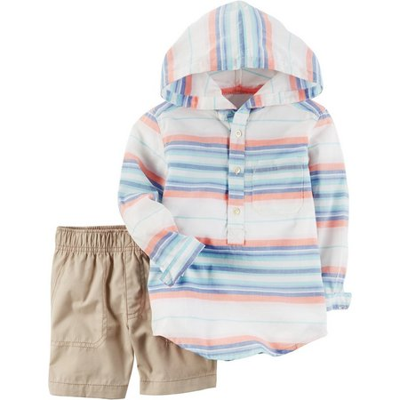 Carters Baby Boys Stripe Hooded Shorts Set