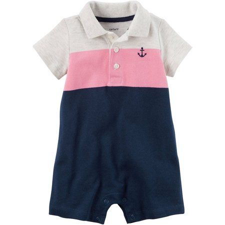Carters Baby Boys Colorblock Polo Romper