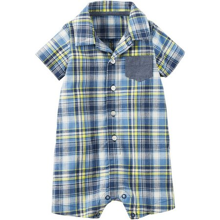 Carters Baby Boys Plaid Chambray Pocket Romper