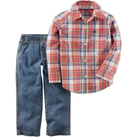 Carters Baby Boys Classic Plaid Pants Set