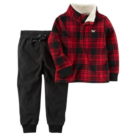 Carters Baby Boys Plaid Pullover Jogger Pants Set