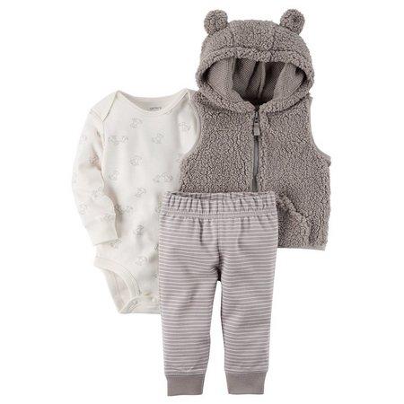 Carters Baby Boys 3-pc. Bear Hood Vest Layette