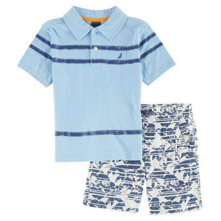 Nautica Baby Boys Blue Bell Print Shorts Set