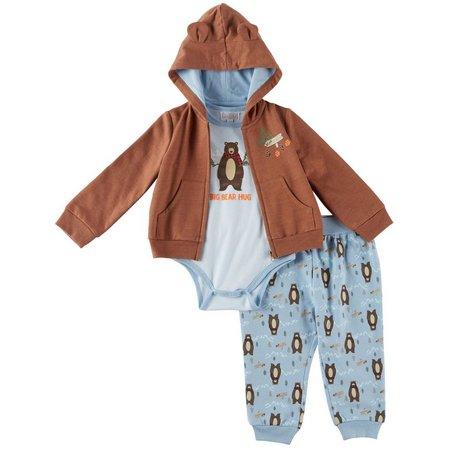 Quiltex Baby Boys 3-pc. Bear Crossing Hoodie Layette